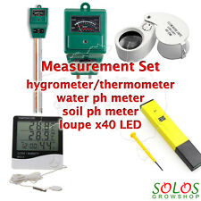 THERMOMETER/HYGROMETER WATER/SOIL PH METER LOUPE x40 measurement set hydroponic