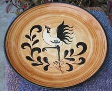 """Pennsbury Pottery Black Rooster Hand Painted 8"""" Salad Plate"""