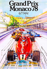 1978 Monaco Grand Prix Automobile Race Car Advertisement Vintage Poster