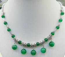 LOVELY NATURAL GREEN JADE ROUND BEADS PENDANTS & TIBET SILVER NECKLACE 18""