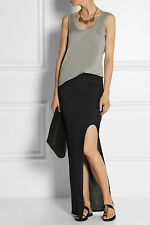 NWT Helmut Lang Kinetic Jersey Black Long Maxi Slit Skirt $210 – S