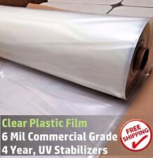 Greenhouse Plastic Cover Clear 4 Year 6 Mil Poly Film 12ft x 25ft
