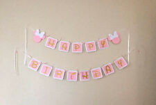 Pink & Gold Minnie Mouse Ears & Bows Happy Birthday Banner Bunting