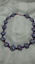 Rare  Native American Navajo 6 color chevron blue art glass trade bead necklace