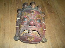 VINTAGE TIBETAN HAND CARVED DEATH MASK W SKULLS NICE CONDITION INTERATIONAL SALE