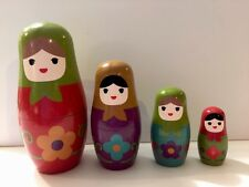 Russian Stacking Nesting Wooden Dolls - 4 pieces Flowers Design