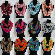 US SELLER-lot of 10 Chevron floral bear scarf infinity wholesale circle loop