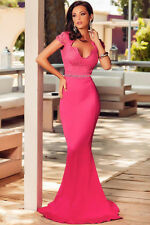 NEW FUCHSIA PINK LACE EMBELLISHED MERMAID EVENING MAXI DRESS SIZE 8 10 12 14 UK