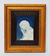 Porzellanbild Maria Madonna Muttergottes Holzrahmen blattvergoldet 19.Jh 28x24cm