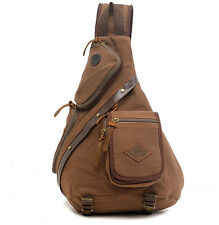 Men's Vintage Canvas Leather Messenger Shoulder Bag Military Travel Satchel Bags