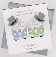 Personalised Handmade Camper Van Male Civil Partnership/Wedding Card