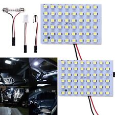 2 x T10 Dome BA9S 48 SMD LED Panel Car Interior Festoon Adapter Lamp Light Bulb