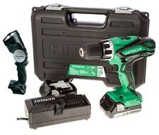 HITACHI 18V LI ION 2.5AH 13MM CORDLESS COMBI DRILL SCREWDRIVER 2 BATTERIES TORCH