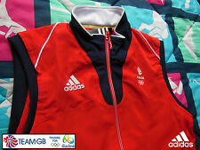 ADIDAS TEAM GB ISSUE - TRAINING FOR RIO OLYMPICS 2016 - ATHLETE RED GILET VEST