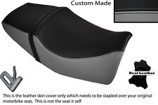 BLACK & GREY CUSTOM FITS YAMAHA XJR 400 DUAL LEATHER SEAT COVER ONLY