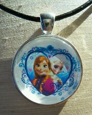 """FROZEN ANNA & ELSA"" Glass Pendant with Leather Necklace"
