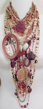 Lot 14 Necklaces Amber Mauve Colors 2, 3 Strand Some Signed Zad, NY, Robert Rose
