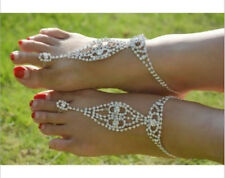 Bridal Barefoot Sandals Unique Rhinestone Wedding foot Shoes Thongs Anklet Beach