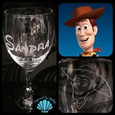 Personalised Disney Woody ToyStory Wine Glass Handmade Free Name Engraving!