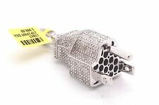 Hip Hop Iced Out .33ct Real Diamonds Micropave Plug 14k Finish 925 Silver Charm