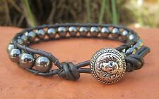 Handcrafted Gift Men's Black Hematite Leather Wrap Bracelet with Lion Button