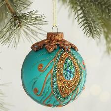 Turquoise Glass Beaded Peacock Ball Ornament  Pier 1 Imports New Christmas New