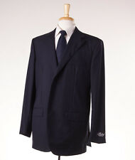 NWT $3795 BELVEST Navy Stripe Super 150s Wool Suit 46 R (Eu 56) Modern-Fit