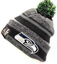 New Era Seattle Seahawks Sport Knit On Field Gray Cuff Fleece Beanie Pom Hat Cap