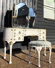 Vintage French Louis Style Dressing Table With Mirror & Stool