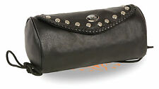 Large Soft Genuine Leather Motorcycle Tool Bag Pouch - Milwaukee Black - Studded