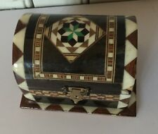 Jewelry Box Lacquered w Mother Of Peal Inlay Red Velvet Lining Beautiful
