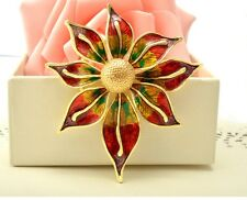Beautiful Enamelled Oil Drip Flower Brooch