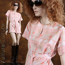 SALE Vintage 60s Hippie Dress Peach/Cream Diamond Stripe Mod Mini Plus Size 3XL