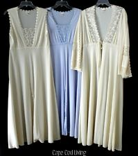 Vintage 3 PC Peignoir SET Embroidered Lace & Bell Sleeves L/XL ~ PRISTINE!
