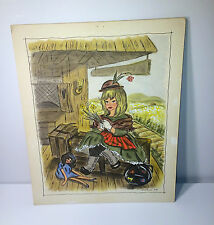 "Vintage 1964 Children's Story ""The Arrival"" Victorian Train Scene Painting! Doll"