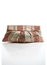 LAUREN MERKIN Pink White Plaid Clutch Handbag