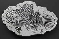 FOSSIL SKELETON FISH GREY BELT BUCKLE METAL UK