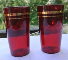Beautiful, Vintage, Set of 2, Ruby Red Flat Glass Tumblers with Gold Rim