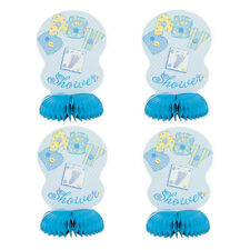 4 Baby Blue Stitching Baby Shower Party Mini Honeycomb Table Decorations