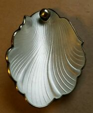 Estate Hans Mhyre Norway Sterling White Guilloche Enamel Clam*Ish Shell Brooch
