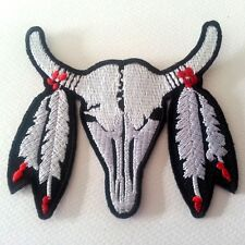 Buffalo BISON SKULL Bull Ox WITH FEATHER Embroidered Iron on Patch Free Shipping