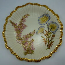 Royal Worcester Botanical 8 in Plate Floral Flower Gold Antique Collectible