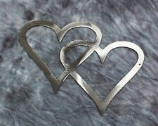 Double Hearts Metal Wall Accents Silver