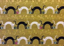 RPG429 Japanese Asian Kimono Print Cat Kitty Kitten Siamese Cotton Quilt Fabric