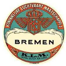 KLM Airlines  Bremen-GERMANY   Vintage 1950's-Style   Travel Decal/Sticker/Label