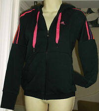 NEW ADIDAS BLACK & PINK HOODIE  Size XS