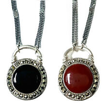 """Double-Sided Stones NECKLACE Onyx & CARNELIAN Marcasite .925 Sterling Silver 19"""""""