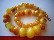 Natural Egg Yolk Butterscotch Antique Beads Baltic Amber  Necklace 76g Rare