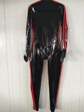 Latex Rubber Caoutchouc Catsuit Black and Red Bodysuit Zipper Suit Size XS-XXL