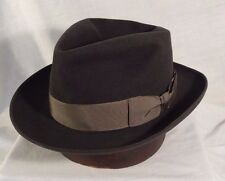 Dobbs Black Fedora Men's Hat Vintage with Gray Ribbon Size 7 1/8